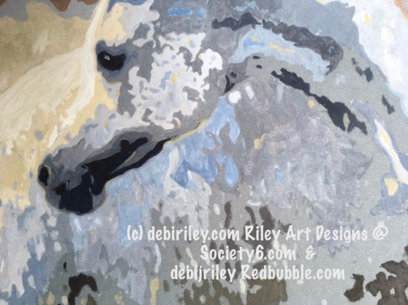 grey arabian horse painting, horse art for sale, debiriley.com, pink and grey palette, horse art Redbubble.com
