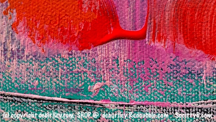 art in pink and red, acrylic abstracts, red contemporary paintings Redbubble.com, debiriley.com