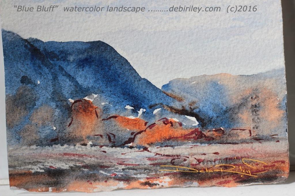watercolor landscape blue mountains, Ultramarine Blue pb29, impressionist, colorful painting of nature, debiriley.com