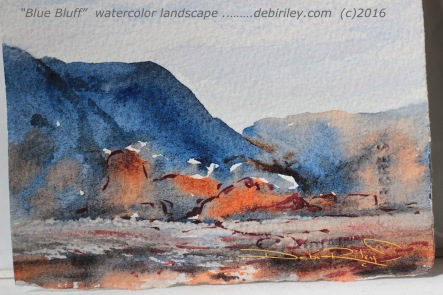 watercolor landscape blue mountains, Ultramarine Blue pb29, impressionist, colorful painting of nature, debiriley.com