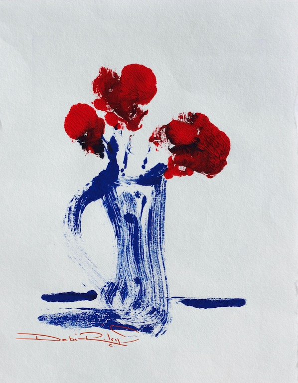 floral rose monotype, simplicity, zen minimalism, red white and blue palette, debiriley.com