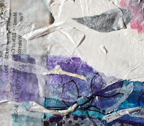 collage blue, green purple, work in progress, what makes an artist tick, persistence, debiriley.com