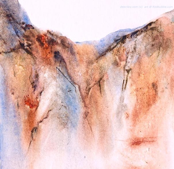 watercolor landscape mountain, impressionist landscape, debiriley.com