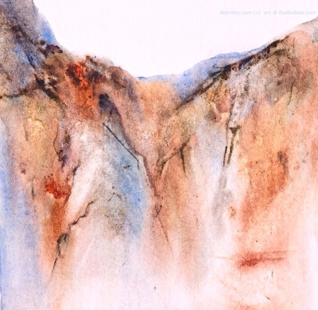watercolor landscape mountain, impressionist landscape, debiriley.com