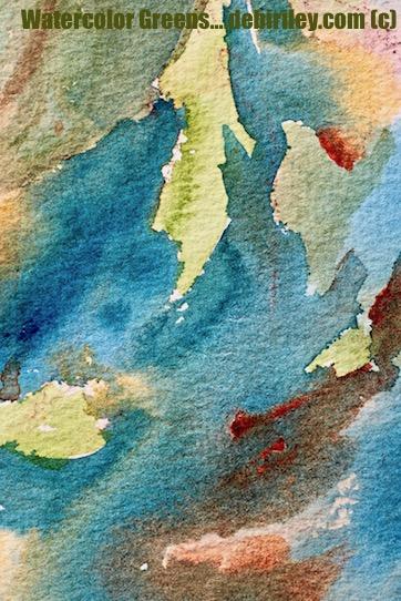 watercolor wet in wet, mixing foliage greens, prussian blue pb27, quinacridone sienna watercolor mixes, debiriley.com