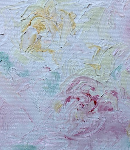 floral painting in oils, yellow and pink roses, debiriley.com