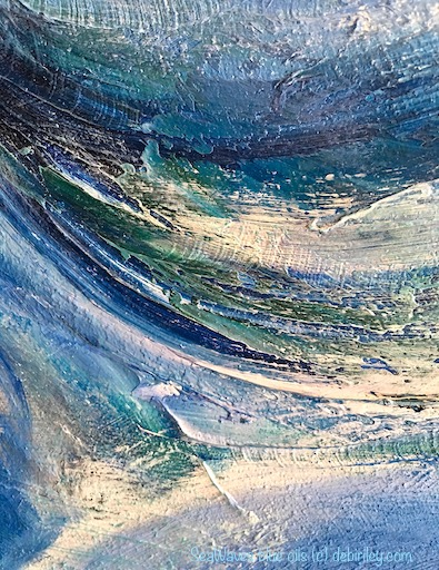 ocean waves in blue oils, abstract painting, debiriley.com