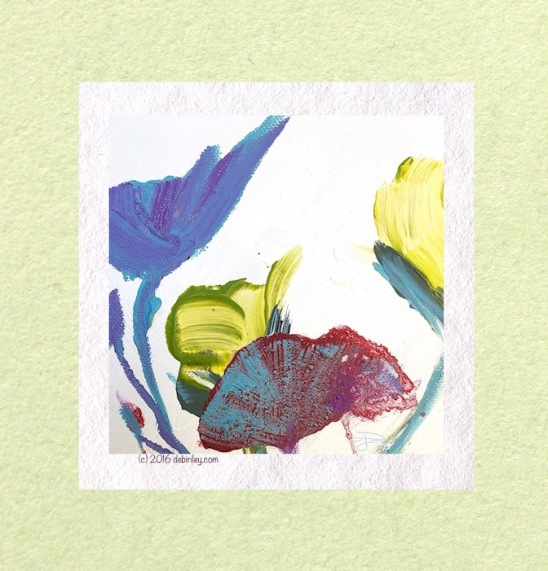 colorful abstract acrylic flower painting, color and texture in painting, debiriley.com