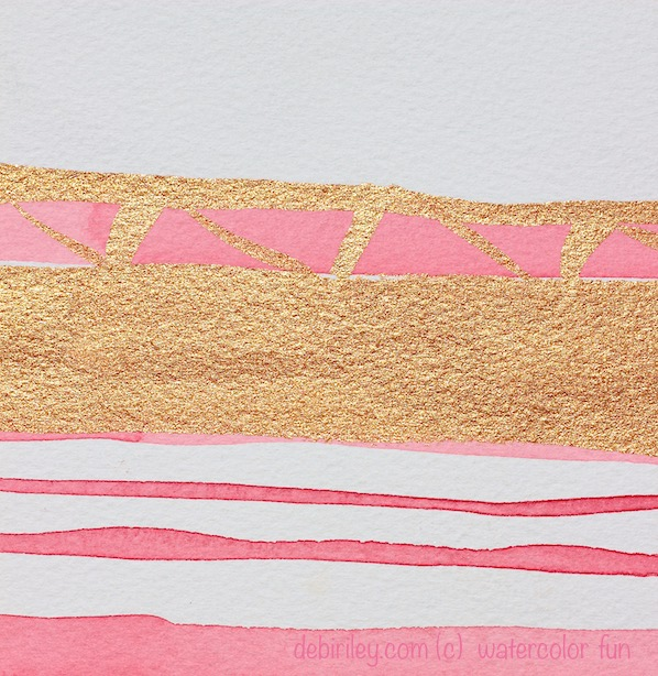 watercolor abstract, rose pink, gold, debiriley.com
