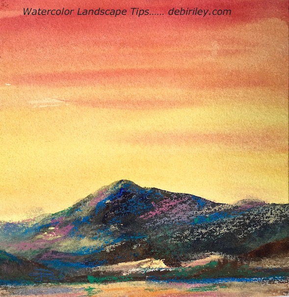 watercolor sunset landscape, bright red sky, mountain at dusk painting, debiriley.com