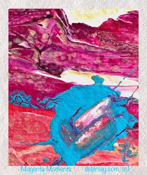 contemporary acrylic abstract, magenta and turquoise, debiriley.com