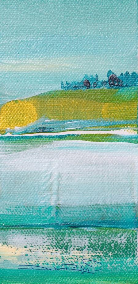 acrylic landscape palette knife in greens, debiriley.com