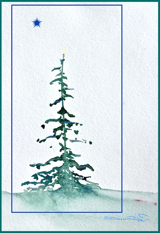watercolor holiday art, Christmas tree card, joy peace love, seasons greetings, debiriley.com