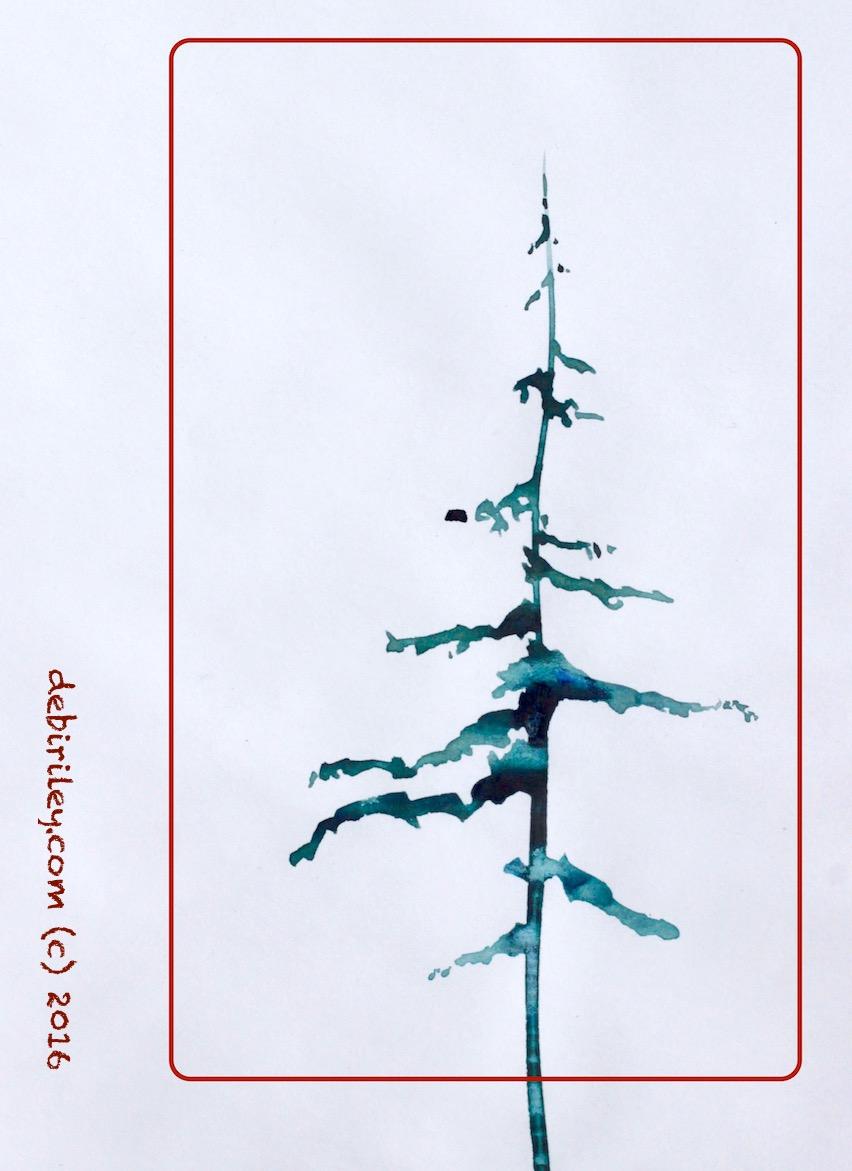 watercolor winter tree, wabi sabi painting, holiday art, debiriley.com