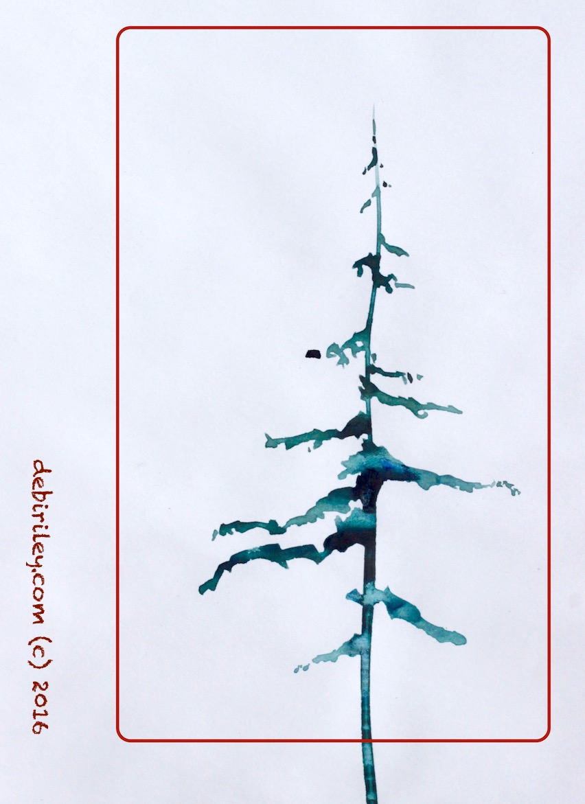 watercolor winter tree, wabi sabi painting, holiday art, debiriley.com