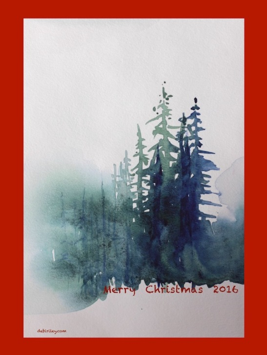 watercolor painting, holiday art, Christmas trees paintings, debiriley.com