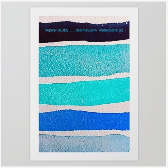 watercolor blues, tropical ocean colors, cerulean, cobalt, teal, color mixes, debiriley.com
