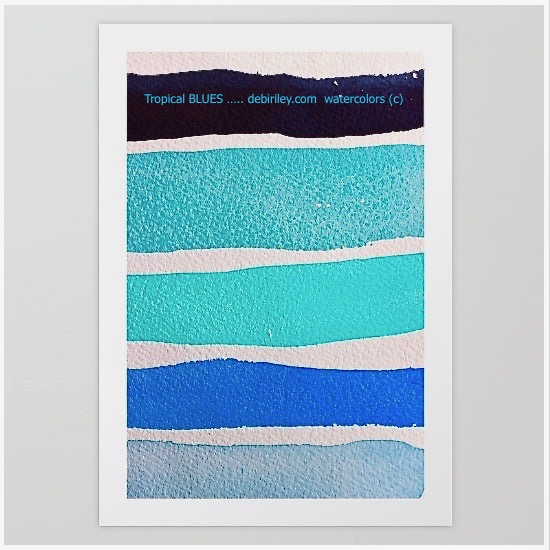 watercolor blues, tropical ocean colors, cerulean, cobalt, teal, color mixes, debiriley.com