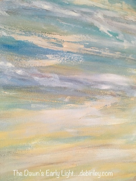 oil painting, sky clouds, dawns early light, debiriley.com