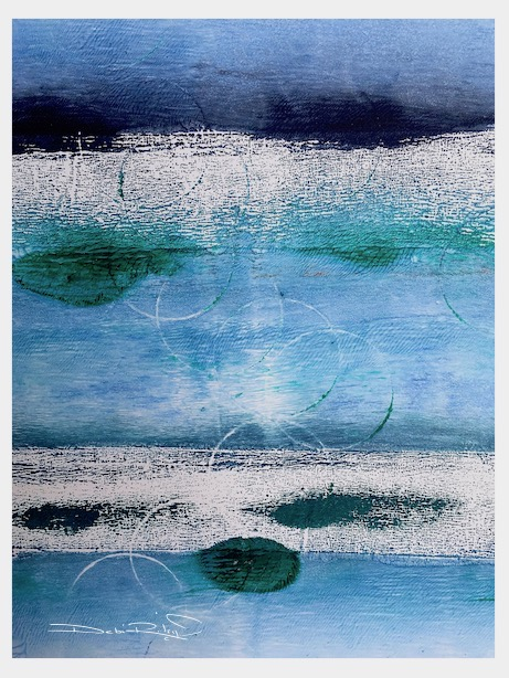 blue light, blue water, blue painting mixed media, debiriley.com