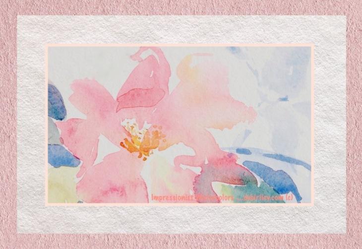 pink rose, impressionist watercolor, watercolour techniques, debiriley.com