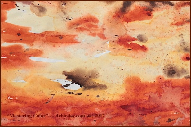 Daniel Smith watercolor quinacridone sienna, burnt umber, watercolor abstracts, debiriley.com