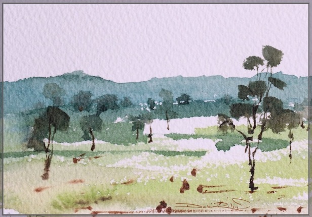 how to paint watercolors, fast easy watercolor landscapes, watercolour tips, easy plein air techniques, debiriley.com