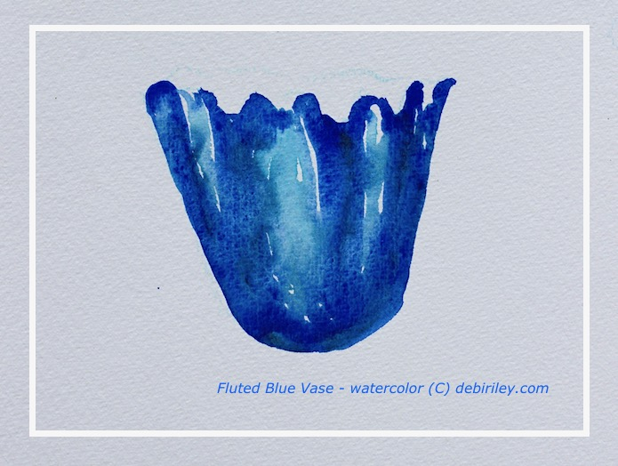 still life in blue, granulating watercolours, watercolor painting cerulean and ultramarine blue vase, mixing blues in watercolours, debiriley.com