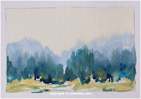 impressionist landscape watercolor, color study, prussian blue pb27, ultramarine blue pb29, loose landscapes, debiriley.com