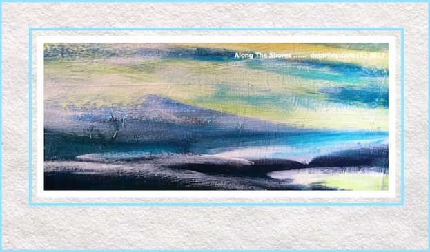 indigo blue, naples yellow, cerulean blue, ocean coast painting, debiriley.com