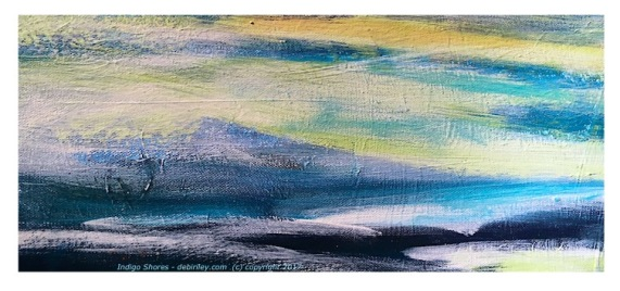 indigo blue landscape in oils, semi abstract coastal painting in blues, ultramarine, cerulean blues, painting in blues, master color, debiriley.com