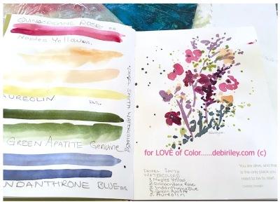 watercolor techniques, color mixing Daniel Smith paints, love of color, impressionist flower painting, debiriley.com