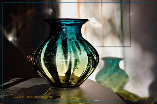 turquoise and amber vase shadows, color possesses me Paul Klee, debiriley.com