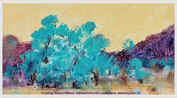 oil Textures, impressionist oil landscapes, cobalt teal blue, debiriley.com