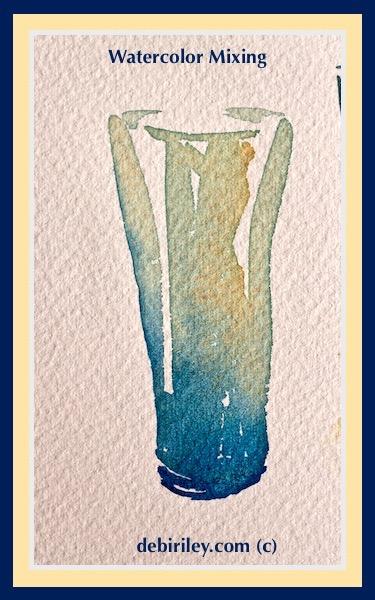 prussian blue pb27, naples yellow daniel smith watercolors, color mixing for watercolor beginners, debiriley.com