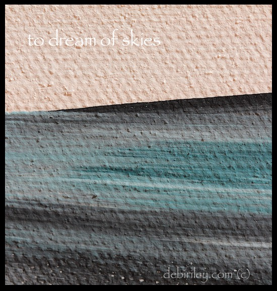 acrylic abstract landscape, teal green, apricot peach skies, painting the sky, expressing mood in art, debiriley.com