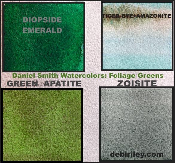 zoisite, emerald, green apatite, serpentine, sleeping beauty turqoise Daniel Smith watercolors, painting landscapes, debiriley.com