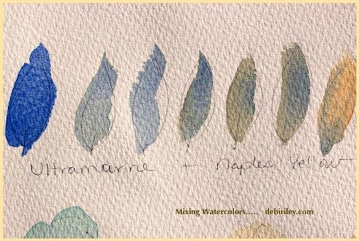 naples yellow watercolors, ultramarine blue pb29, watercolor mixing greens, debiriley.com