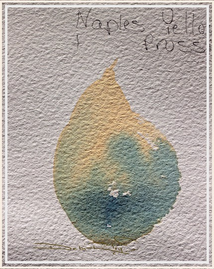 Naples Yellow daniel smith watercolors, prussian blue pb27, color mixing watercolours, debiriley.com