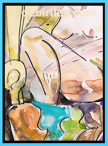 painting the nude, cobalt teal blue pg50, impressionist watercolor nude, figure after Matisse, creative life drawing, debiriley.com