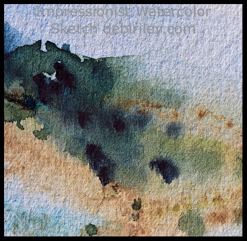 impressionist watercolor landscape, outdoor painting hills, loose colorful landscapes, debiriley.com