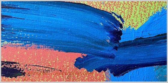 colorful abstract acrylic, prussian blue pb27, warm and cool colors, debiriley.com
