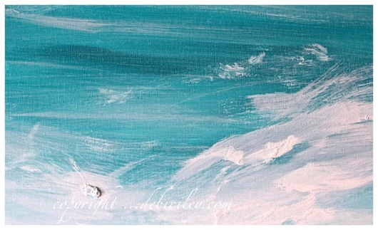 acrylic painting seashore, surf in cobalt teal blue, abstract art in teal, debiriley.com
