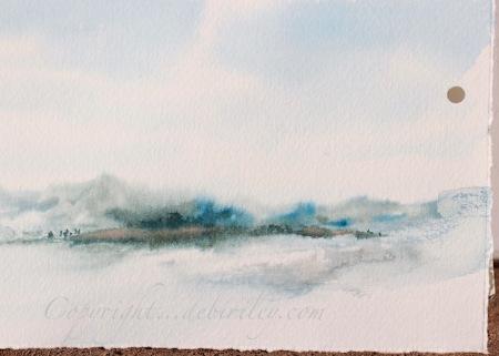 impressionist watercolor landscape, limited palette, cool colors, debiriley.com