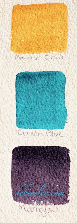 watercolor mixing, triad color palettes, teal, Daniel Smith moonglow, debiriley.com