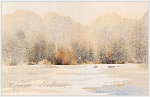 impressionist watercolor landscape, simplifying the subject, limited palette, debiriley.com