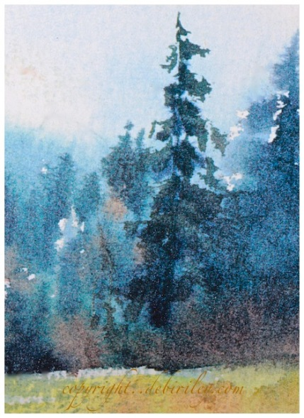 impressionist watercolor landscape, morning haze in the forest, debiriley.com