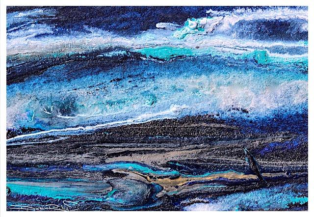 acrylic palette knife painting in blue, ocean seascape abstract, wild seas art, debiriley.com