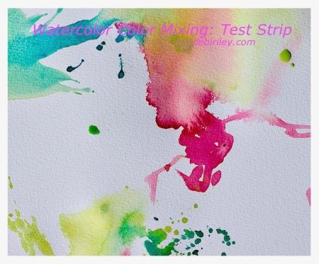 watercolor color mixing test strips, debiriley.com