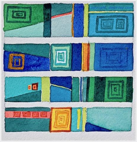 watercolor abstract cubes, debirley.com